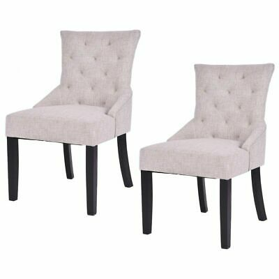 Set of 2 Dining Chairs Armless Chair Tufted Design Fabric Upholstered Modern New