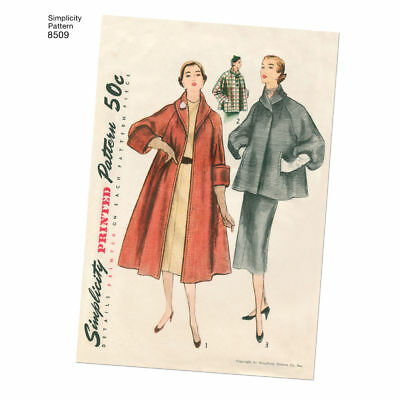 S8509 Simplicity 8509 SEWING PATTERN Vintage 1950s Lined Coat Jacket Sleeve Var