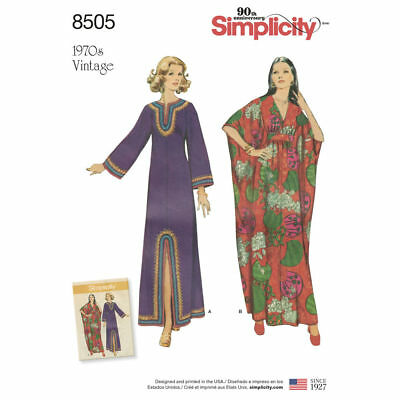 S8505 Sewing Pattern Misses' Retro 1970s Style Vintage Caftans 10-20 (S-L) Repro