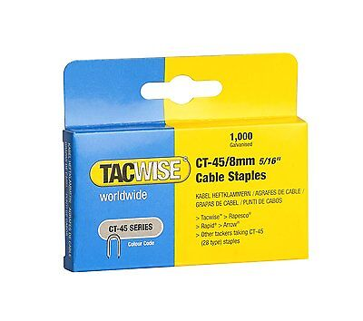 CT45 8mm GALVANISED CABLE TACKER STAPLES, 1000 PER BOX, FITS MOST CABLE TACKERS