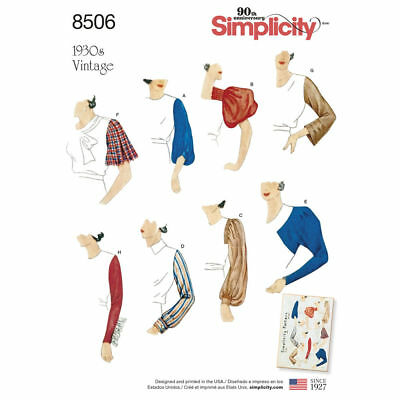 S8506 SEWING PATTERN Style 1930s Set of Vintage Sleeves Sizes 10-22 Bodice Guide