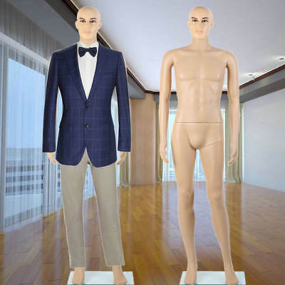 Male Full Body Realistic Mannequin Display Head Turns Dress w/ Stand Man Show H