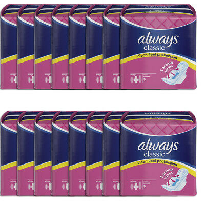Always Classic Maxi Towels 9 x 16 Pads With New 3 Action Zones (144 Pads)