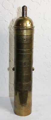 "Antique Brass Made In Greece Atlas Coffee Pepper Spice Mill Grinder 9 1/4"" Tall"