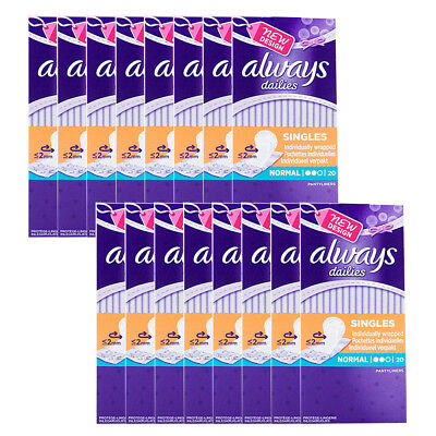Always Dailies Normal  20 x 16 Individually Wrapped Pantyliners (320 pads)
