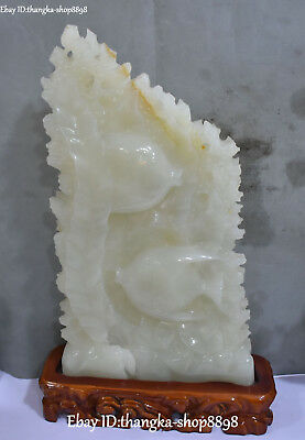 Real Natural White Jade Carving Fish Goldfish Flounder Seaweed Ferry Boat Statue