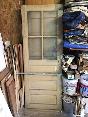 Antique Solid Wood Panel And Glass Top Door 1920's Storm