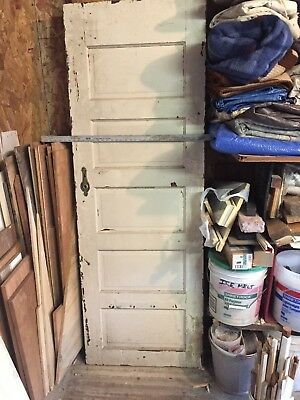 Antique Solid Wood 5 Panel Door With Mirror 1920's