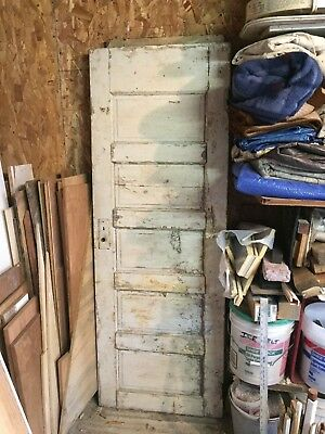 Antique Solid Wood 5 Panel Door 1920's
