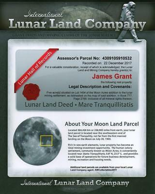 The Lunar Land Company 5 Acre Share Certificate Own A Piece Of The Moon
