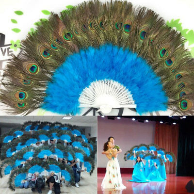 Chinese Folding Feather Hand Fan Peacock Feathers Fan Wedding Party Decoration