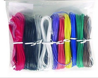 WK-1100BKX Hook-Up Wire -Stranded-22 Gauge-100 ft -10 Assorted Colors