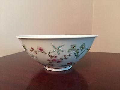 Handpainted Oriental Floral and Dragonfly Porcelain Bowl from China, Marked