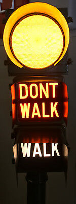 Vintage Eagle Signal WALK / DON'T WALK Crosswalk Light Sign Complete w/ Base