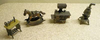 3 Piece Durham Metal Doll House Furniture & 1 Misc. Piece
