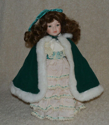 """VINTAGE Moments Treasured Christmas Doll in Green Cape - 17"""" with Display Stand"""