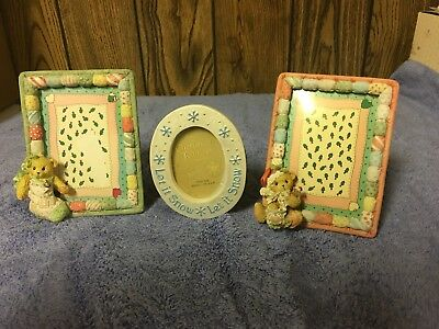 3 Cherished Teddies Christmas Themed picture photo frames 2x3 pics