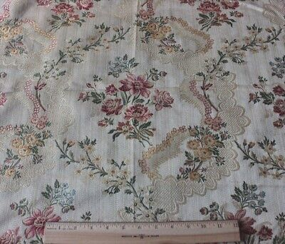 French Vintage Floral & Lace Woven Home Dec Heavy Lampas Sample Fabric c1930