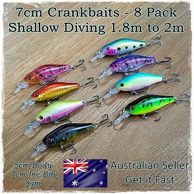 8 Redfin & Bream Fishing Lures, Yellowbelly, Flathead, Bass, Perch, Trout, 7cm