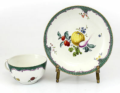 Meissen Porcelain Green Scale Cup & Saucer 18th Century Fruits & Floral, Gilt