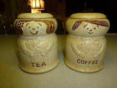 Mid Century Pottery Craft  Tea and Coffee Cannisters, RARE and HTF