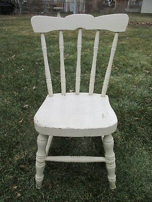 Antique Vintage Full Size Child's Doll Hard Wood Chair From Old Time Milwaukee
