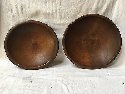 Antique Pair of Wood nesting bowls hand turned green working bowls