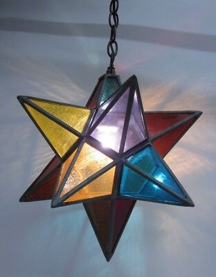 Vintage Moravian Star Textured Stained Glass Ceiling Fixture