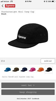 857e04af4fe SUPREME - FEATHERWEIGHT Wool Camp Cap - Black - box log