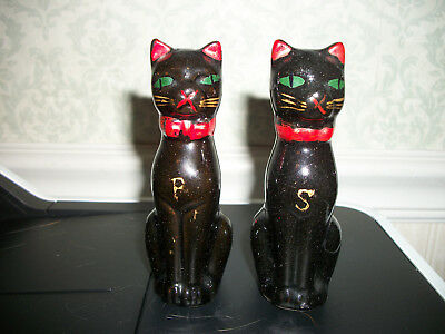 Vintage Black Cat Salt & Pepper Shakers w/Cork Stoppers Redware  Japan