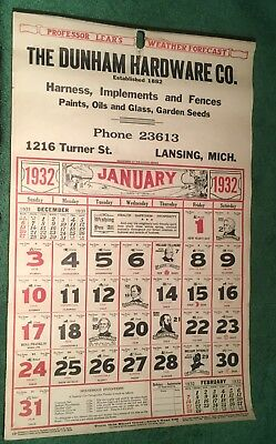 1932  Lansing Michigan Calendar - The Dunham Hardware Company - Complete