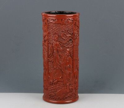 Chinese Exquisite hand-carved Eight Immortals carving Lacquerware Pen holder
