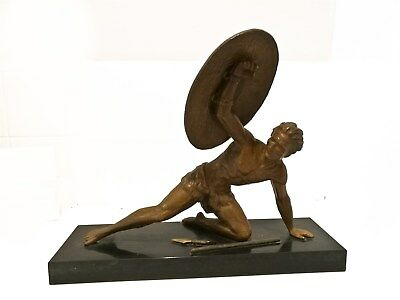 """Art Deco Sculpture """"The Gladiator"""" 1930's France Signed Roncourt Bronze patina"""
