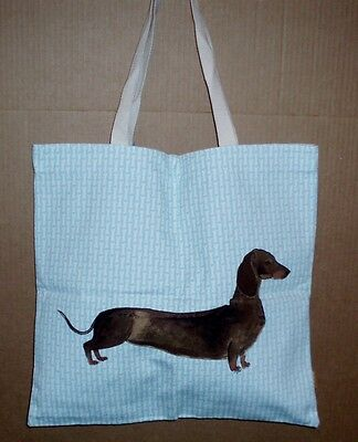 Milly Green Dachshund Dog on a Blue with White Bone Background Cotton Tote Bag