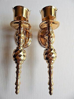 Vintage Pair SOLID BRASS Candle Wall Sconces