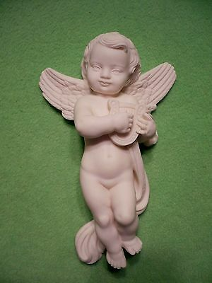 Vintage Italian made CHERUB/ANGEL with harp. Nicely detailed. Cute face ! Exc