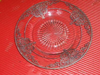 Antique Glass Plate With Silver Overlay  9.75 Inches Ornate