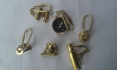 Set Of 6 pcs Vintage Nautical Solid Brass Key Ring Collection Good Gifted Item