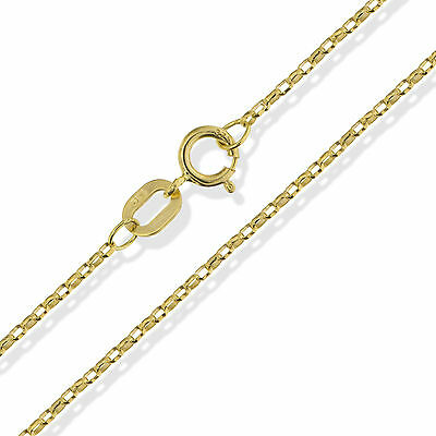 "375 9Ct Gold 16"" 18"" 20"" Round Diamond Cut Belcher Chain Link Necklace Gift Box"