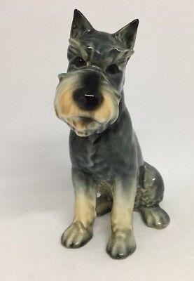 Vintage Goebel #48 Porcelain Schnauzer Grey White Tan Puppy Dog Figurine  13F