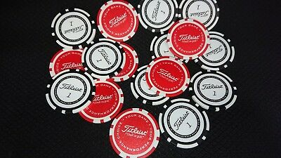 TITLEIST POKER CHIP GOLF BALL MARKER. RED / WHITE or BLACK/WHITE