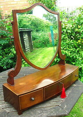 Regency. Mirror Dressing Table 3 Drawers Shield Shaped Mirror. C1820 - 1830.