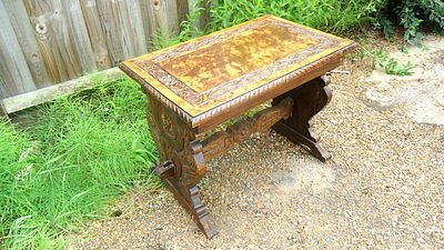 Victorian.  Occasional Table . Highly Carved in Oak. c1880 - 1900.