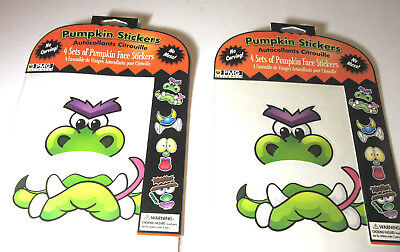 Pumpkin face stickers Pumpkin Face Decorations Lot of 2 sets 8 Sheets total
