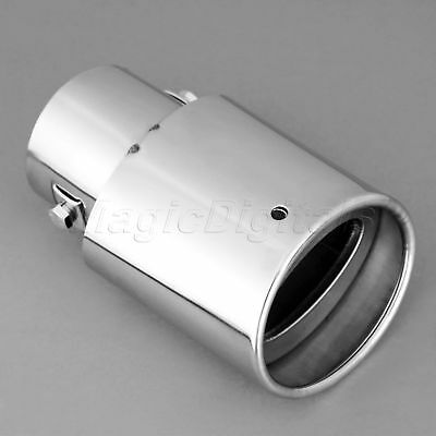 For Universal Chrome Stainless Steel Rear Round Exhaust Pipe Tail Muffler Tip
