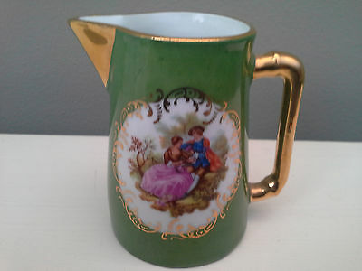 REDUCED - Green Limoges Jug with Gold Lustre