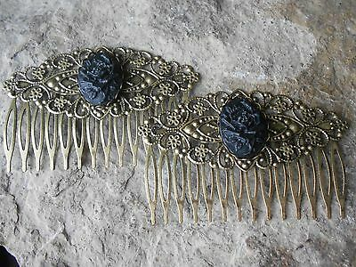 Pair Of Black Rose Cameo Bronze Filigree Hair Combs - Victorian - Goth - Witch