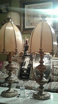 Pair Large Antique French Ornate Gilt Brass Bronze Electric  Lamps