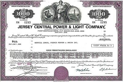 Jersey Central Power and Light Company, 1976, 9 3/4% Bond due 2006 (1.000 $)