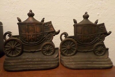 Antique PAIR OF Iron Carriage BOOK ENDS W. H. HOWELL CO Copper plate on Front